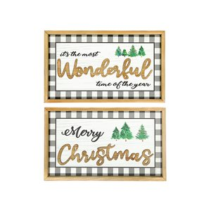 Ih Casa Decor 11.8-in Black and White Christmas Wall Art - Set of 2