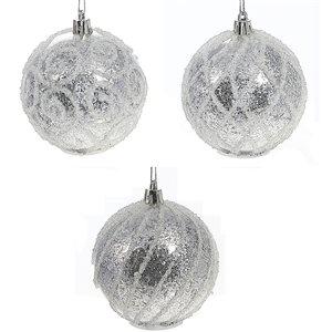 IH Casa Decor White Glitter Ornament Set with White Light - 12-Pack
