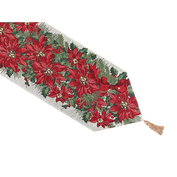 IH Casa Decor Fitted 36-in Red Tapestry Runner with Poinsettia Bundle