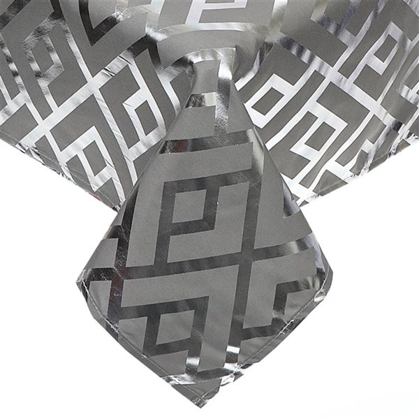 IH Casa Decor Fitted Silver Foil Printed Tablecloth