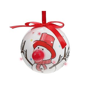 IH Casa Decor Snowman Ornament Set with Red Light - 12-Pack