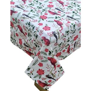 IH Casa Decor Fitted 60-in Round Cotton Tablecloth with Cardinal and Poinsettia Pattern