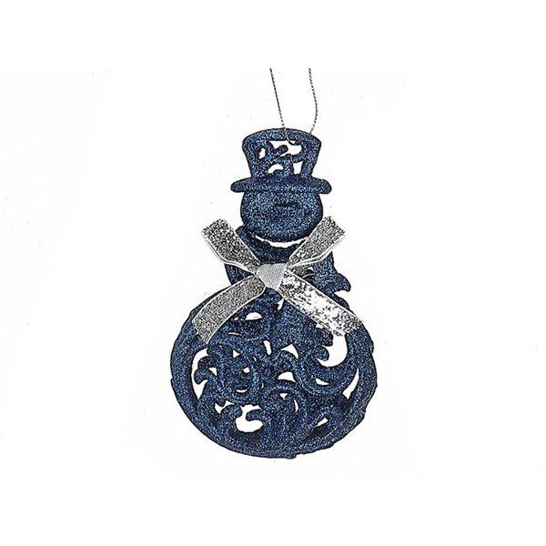Ensemble d'ornements IH Casa Decor bleus en forme de bonhomme de neige, paquet de 12