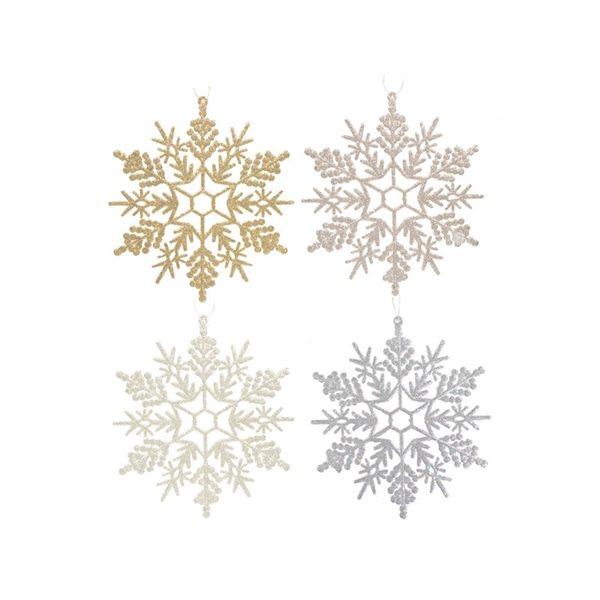 Ensemble d'ornements en forme de flocon de neige IH Casa Decor de couleurs assorties, paquet de 4