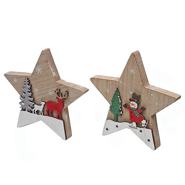 Décoration de Noël IH Casa Decor scène hivernale rouge et bois en forme d'étoile, ensemble de 2
