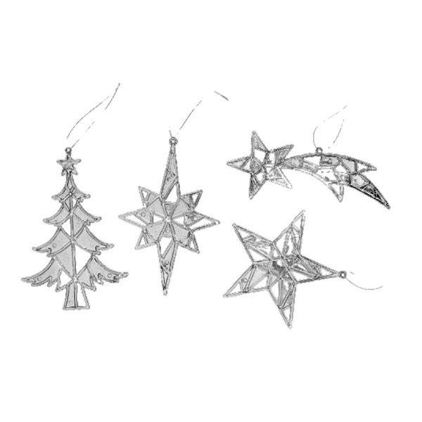 IH Casa Decor Clear Assorted Ornament Set - 4-Pack