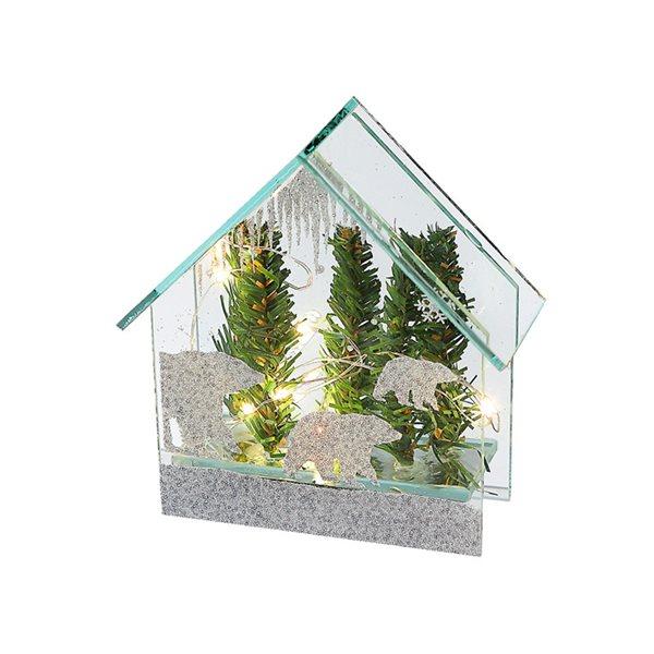 Décoration de Noël en forme de maison IH Casa Decor paysage d'hiver vert et argent avec lumière DEL