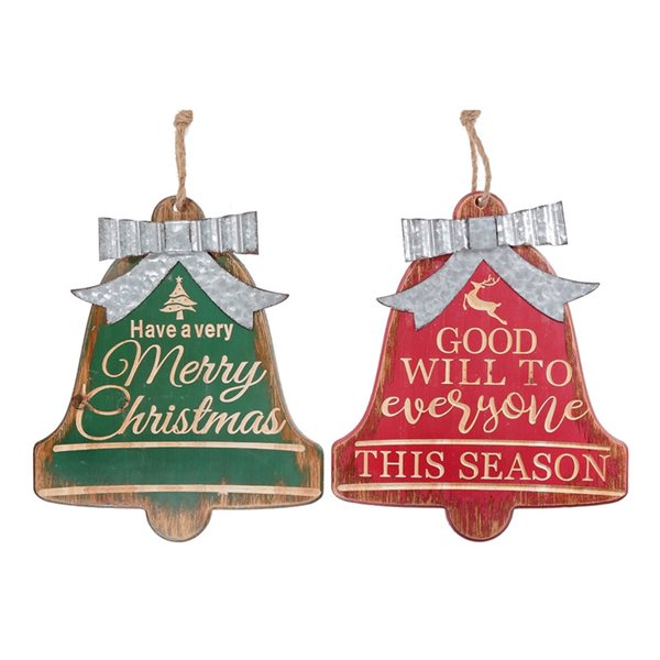 Ih Casa Decor 15-in Green/Red/White Christmas Wall Art - Set of 2