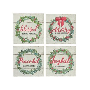 Ih Casa Decor 15.75-in Green/White/Red Christmas Wall Art - Set of 4