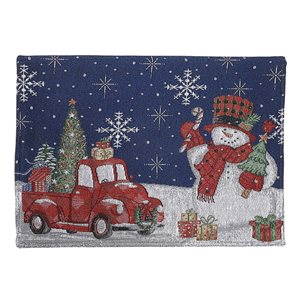 IH Casa Decor Fitted 54-in Tapestry Runner with Snowman with Gifts