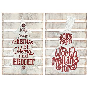 Ih Casa Decor 23.6-in White/Red Christmas Wall Art - Set of 2
