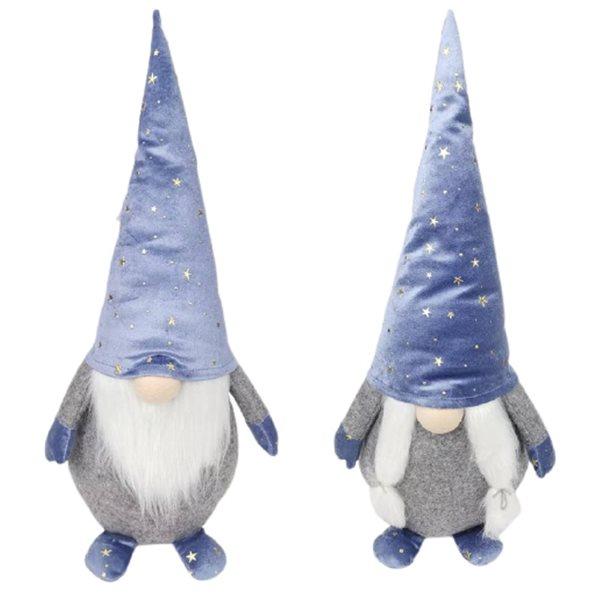 Décoration de Noël IH Casa Decor gnome debout bleu et blanc, ensemble de 2