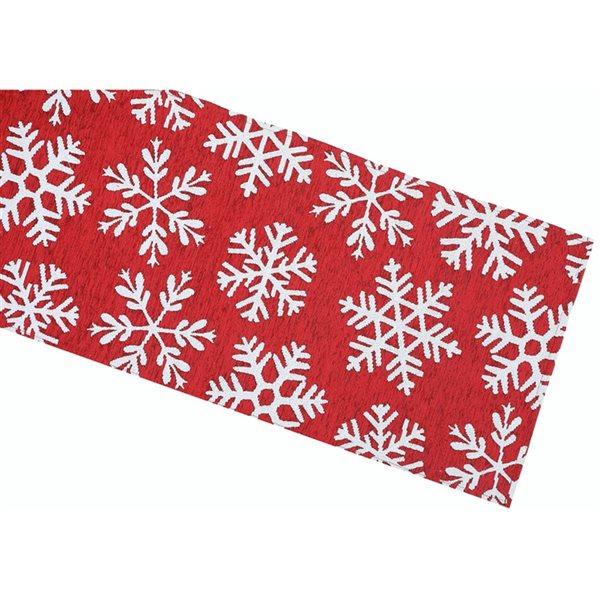 Tapis de table en tissu de tapisserie ajusté par IH Casa Decor, rouge avec motif de flocons de neige