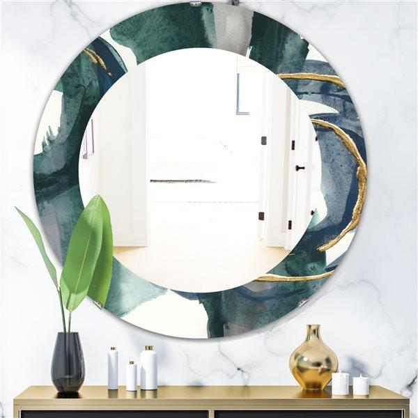 DesignArt 24-in x 24-in Mettalic Indigo and Gold III Round Polished Wall Mirror