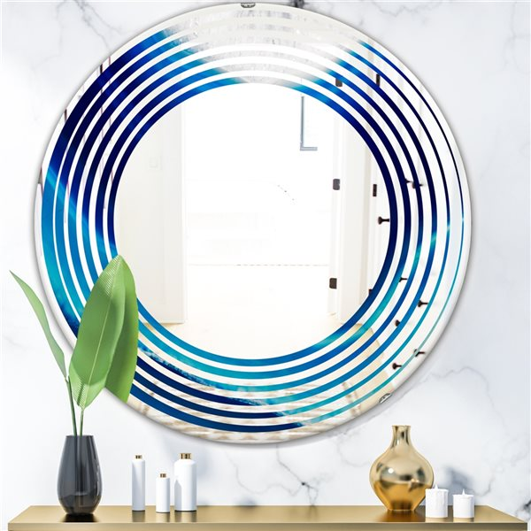 DesignArt 24-in x 24-in Blue Slice Agate Crystal Round Polished Wall Mirror