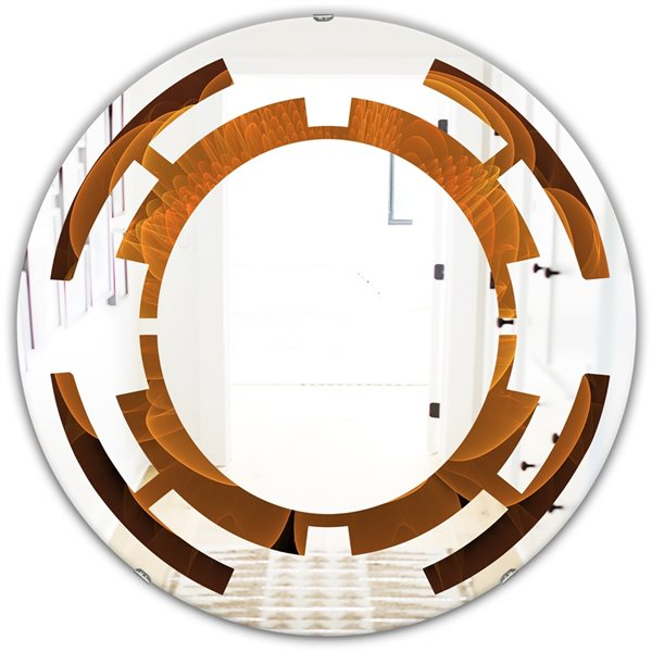 DesignArt 24-in x 24-in Water Lily Digital Art Fractal Flower Orange Round Polished Wall Mirror