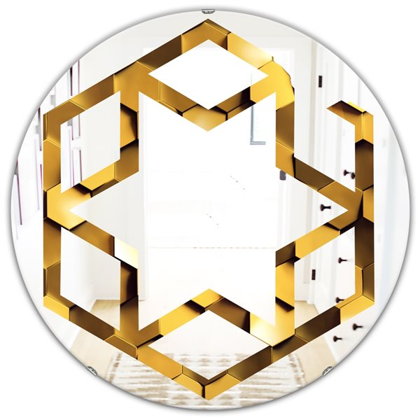 DesignArt 24-in x 24-in Golden Honeycomb Wall Texture Round Polished Wall Mirror