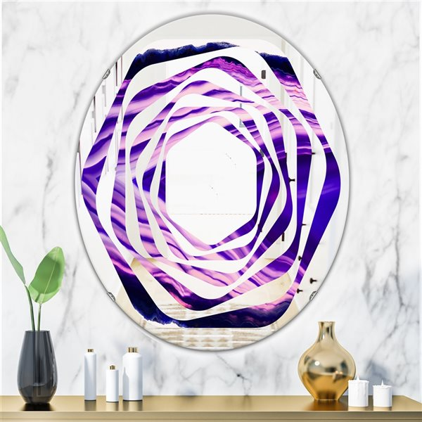 DesignArt 31.5-in x 23.7-in Geode 4 Oval Polished Wall Mirror