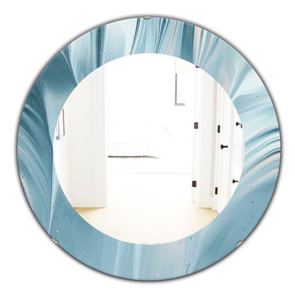 DesignArt 24-in x 24-in Blue Modern Water III Round Polished Wall Mirror
