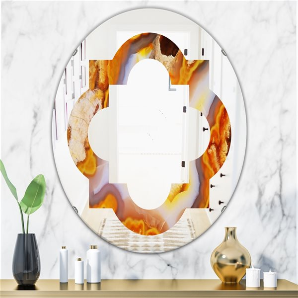 DesignArt 31.5-in x 23.7-in Fire with Rrystals Oval Polished Wall Mirror