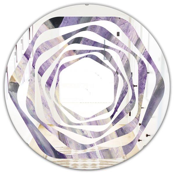 DesignArt 24-in x 24-in Geometric Purple Glacier Round Polished Wall Mirror