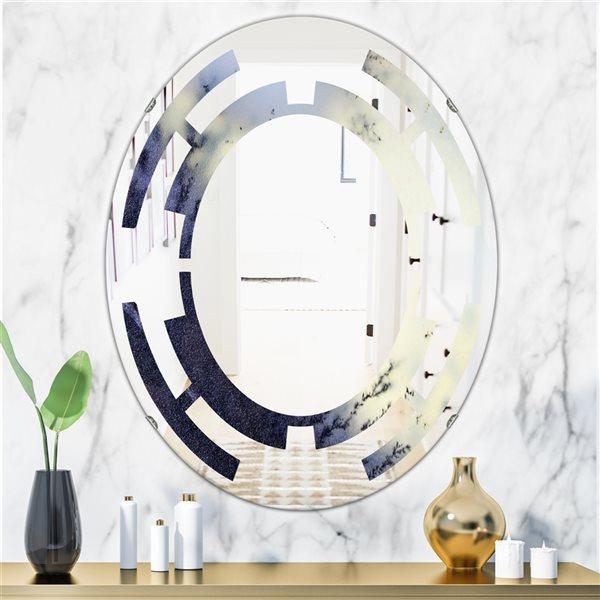 DesignArt 31.5-in x 23.7-in Moss Agate Bush Oval Polished Wall Mirror