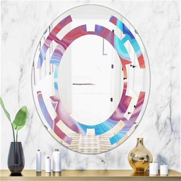 DesignArt 31.5-in x 23.7-in Abstract Marbled Background Oval Polished Wall Mirror