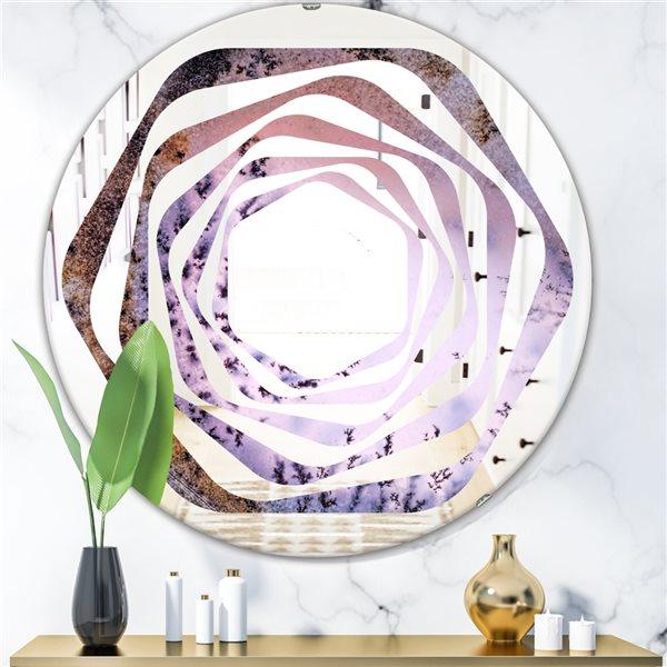 DesignArt 24-in x 24-in Crystal Dendrite Macro Round Purple Polished Wall Mirror