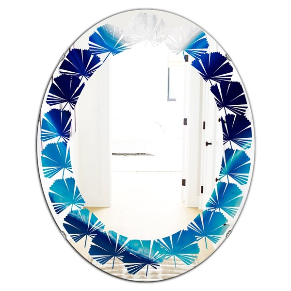 DesignArt 31.5-in x 23.7-in Blue Slice Agate Crystal Oval Polished Wall Mirror