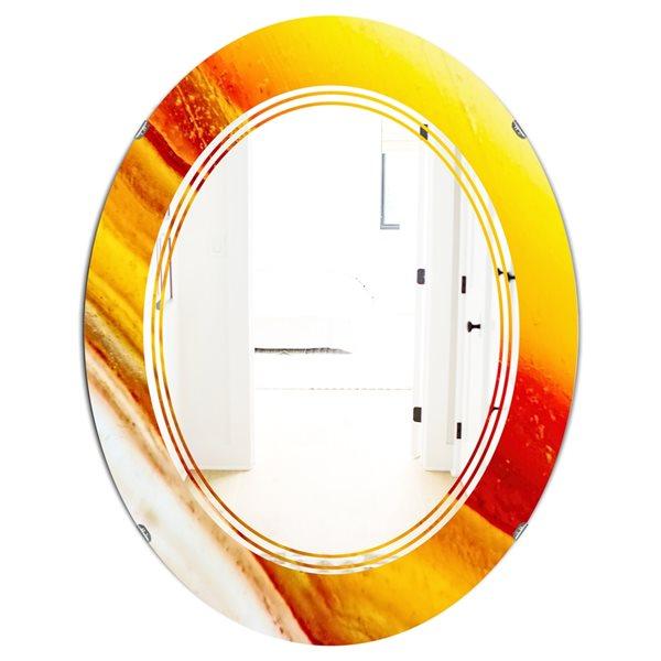 DesignArt 31.5-in x 23.7-in Yellow Kazakhstan Brown Agate Macro Oval Polished Wall Mirror