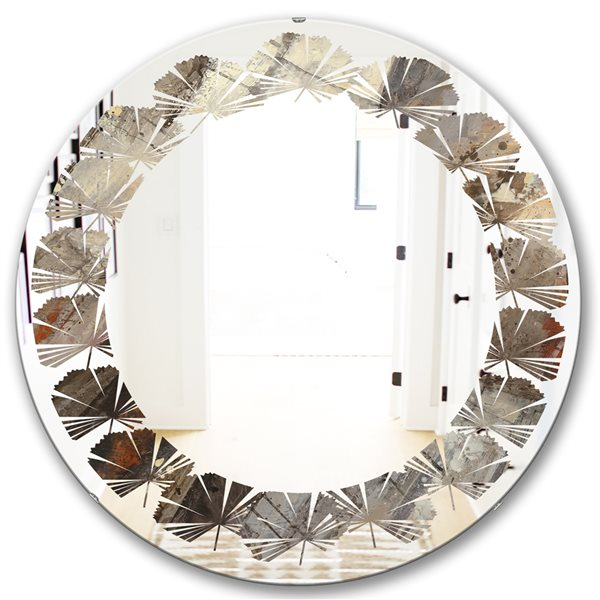 DesignArt 24-in x 24-in Fire and Ice Minerals III Round Polished Wall Mirror