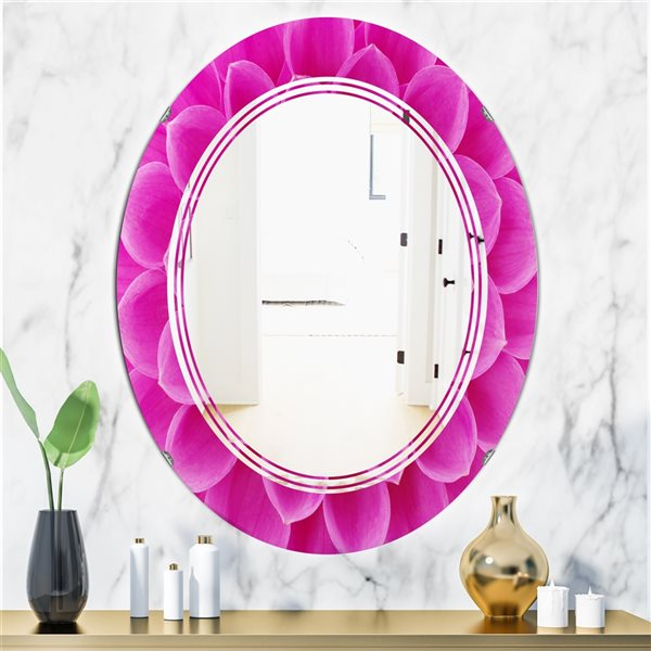 DesignArt 31.5-in x 23.7-in Large Pink Flower and Petals Oval Polished Wall Mirror