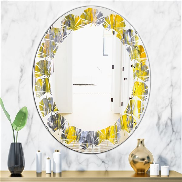 DesignArt 31.5-in x 23.7-in Grey and Yellow Abstract Pattern Oval Polished Wall Mirror