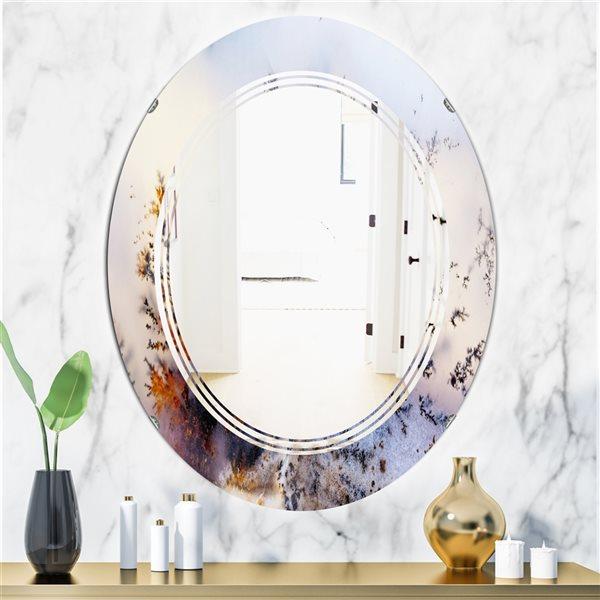 DesignArt 31.5-in x 23.7-in Khazakstan Dendrite Crystals Macro Oval Polished Wall Mirror