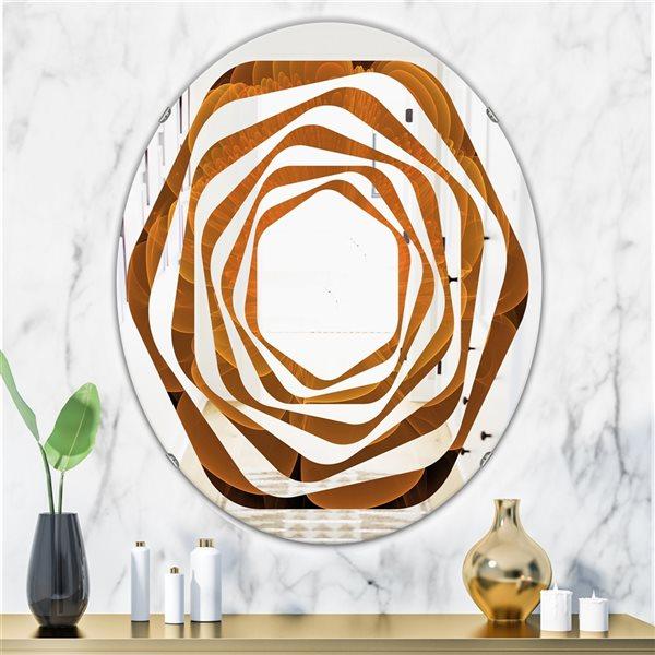 DesignArt 31.5-in x 23.7-in Orange Water Lily Digital Art Fractal Flower Oval Wall Mirror