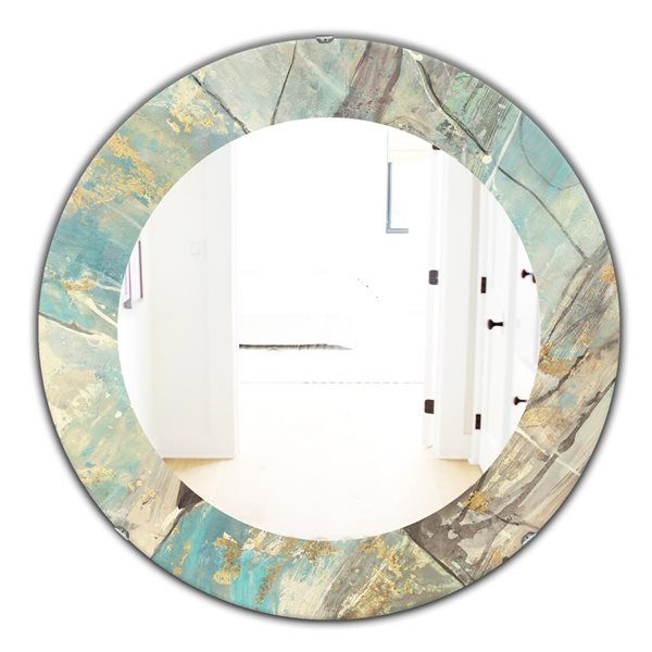DesignArt 24-in x 24-in Mineral Landscape in Blue, Cream and Brown Round Polished Wall Mirror