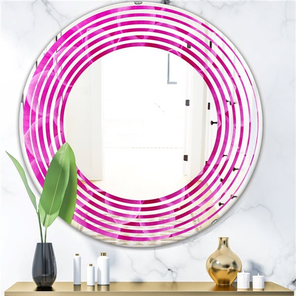 DesignArt 24-in x 24-in Large Pink Flower and Petals Round Polished Wall Mirror