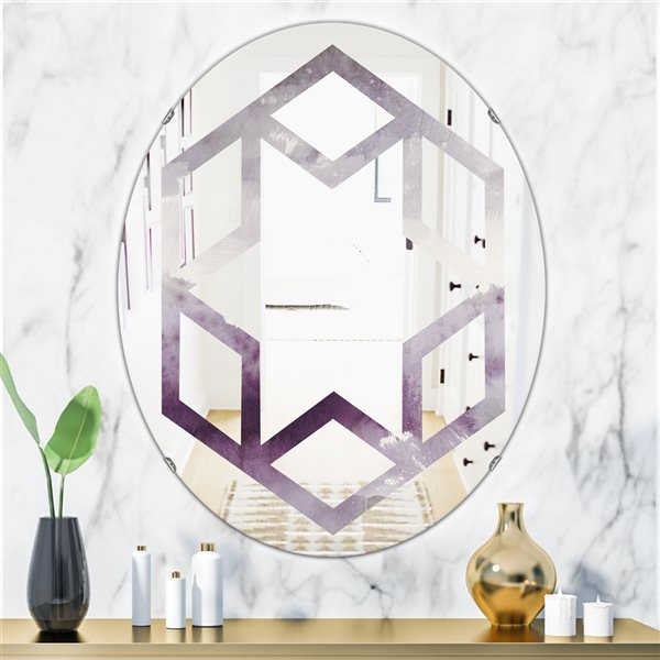 DesignArt 31.5-in x 23.7-in Mirrornight at the Lake II Amethyst and Grey Oval Polished Wall Mirror