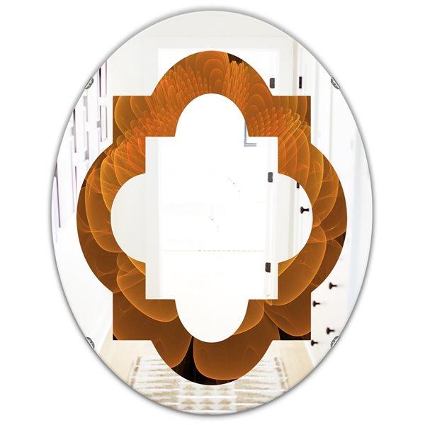 DesignArt 31.5-in x 23.7-in Water Lily Digital Art Fractal Flower Oval Polished Wall Mirror