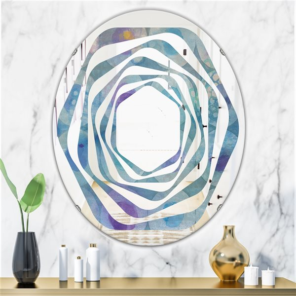 DesignArt 31.5-in x 23.7-in Watercolour Geometrical Circles II Oval Polished Wall Mirror