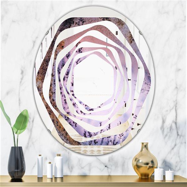 DesignArt 31.5-in x 23.7-in Purple Crystal Dendrite Macro Oval Polished Wall Mirror