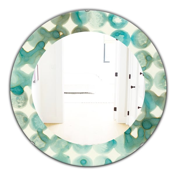 DesignArt 24-in x 24-in Turquoise Watercolour Geometrical I Round Polished Wall Mirror
