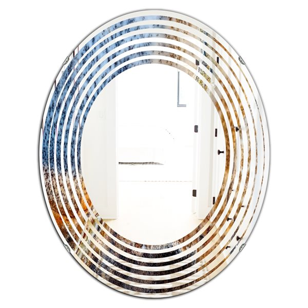 DesignArt 31.5-in x 23.7-in China Moss Agate Blue Oval Polished Wall Mirror