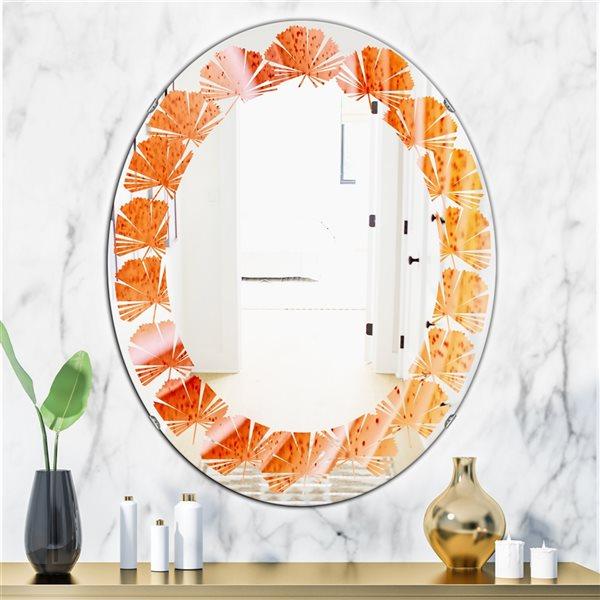 DesignArt 31.5-in x 23.7-in Kazakhstan Red Agate Macro Oval Polished Wall Mirror