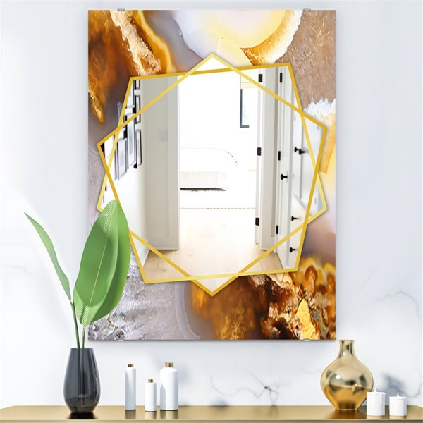 DesignArt 35.4-in x 23.6-in Natural Brown Agate at Crystals Rectangle Polished Wall Mirror