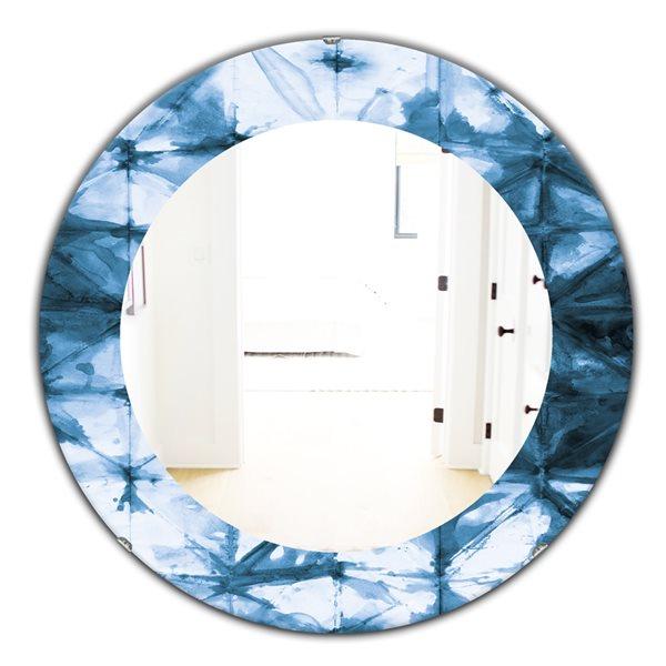 DesignArt 24-in x 24-in Indigo Watercolour Geometrical III Round Polished Wall Mirror