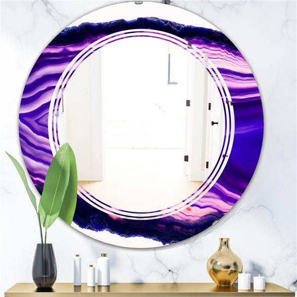 DesignArt 24-in x 24-in Purple Geode 4 Round Polished Wall Mirror