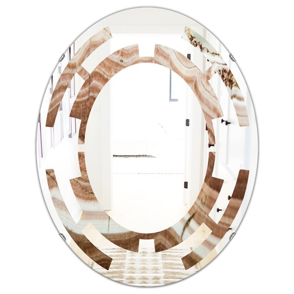DesignArt 31.5-in x 23.7-in Crystals Minerals and Stones Oval Polished Wall Mirror