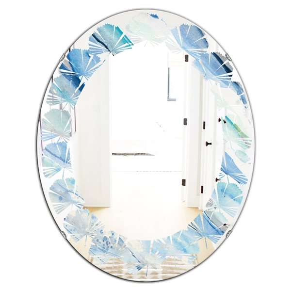 DesignArt 31.5-in x 23.7-in Blue Silver Spring I Oval Polished Wall Mirror