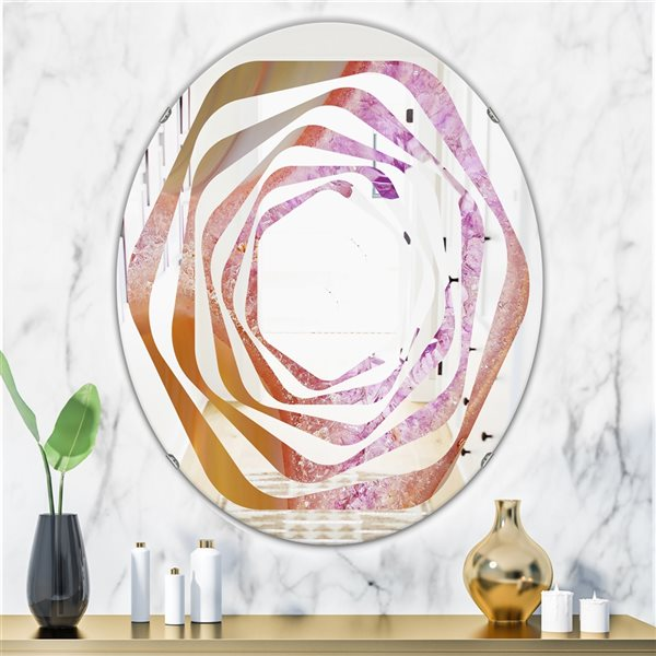 DesignArt 31.5-in x 23.7-in Crystals of Amethyst in Agate Oval Polished Wall Mirror